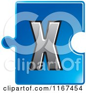 Poster, Art Print Of Blue Jigsaw Puzzle Piece Letter X