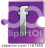 Clipart Of A Purple Jigsaw Puzzle Piece Letter F Royalty Free Vector Illustration