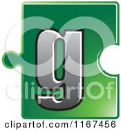 Clipart Of A Green Jigsaw Puzzle Piece Letter G Royalty Free Vector Illustration by Lal Perera