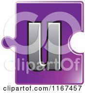 Clipart Of A Purple Jigsaw Puzzle Piece Letter U Royalty Free Vector Illustration by Lal Perera