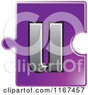Poster, Art Print Of Purple Jigsaw Puzzle Piece Letter U