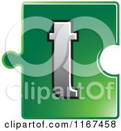 Poster, Art Print Of Green Jigsaw Puzzle Piece Letter T