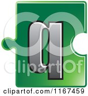 Clipart Of A Green Jigsaw Puzzle Piece Letter Q Royalty Free Vector Illustration