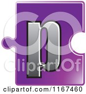 Clipart Of A Purple Jigsaw Puzzle Piece Letter P Royalty Free Vector Illustration