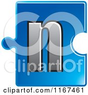 Clipart Of A Blue Jigsaw Puzzle Piece Letter N Royalty Free Vector Illustration