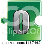 Clipart Of A Green Jigsaw Puzzle Piece Letter O Royalty Free Vector Illustration