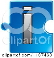Clipart Of A Blue Jigsaw Puzzle Piece Letter I Royalty Free Vector Illustration by Lal Perera