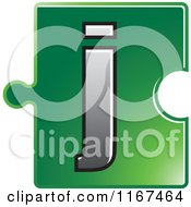 Poster, Art Print Of Green Jigsaw Puzzle Piece Letter J