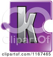 Clipart Of A Purple Jigsaw Puzzle Piece Letter K Royalty Free Vector Illustration by Lal Perera