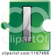 Poster, Art Print Of Green Jigsaw Puzzle Piece Letter L
