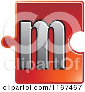 Clipart Of A Red Jigsaw Puzzle Piece Letter M Royalty Free Vector Illustration by Lal Perera