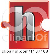 Poster, Art Print Of Red Jigsaw Puzzle Piece Letter H