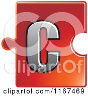 Clipart Of A Red Jigsaw Puzzle Piece Letter C Royalty Free Vector Illustration by Lal Perera