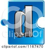 Poster, Art Print Of Blue Jigsaw Puzzle Piece Letter D