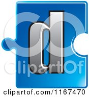 Clipart Of A Blue Jigsaw Puzzle Piece Letter D Royalty Free Vector Illustration by Lal Perera