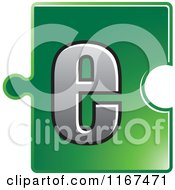 Clipart Of A Green Jigsaw Puzzle Piece Letter E Royalty Free Vector Illustration by Lal Perera