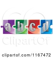 Poster, Art Print Of Colorful Jigsaw Puzzle Piece Letters A B C D