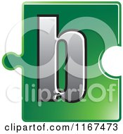 Poster, Art Print Of Green Jigsaw Puzzle Piece Letter B