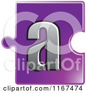 Clipart Of A Purple Jigsaw Puzzle Piece Letter A Royalty Free Vector Illustration