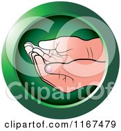 Clipart Of A Round Green Cupped Baby Hands Icon Royalty Free Vector Illustration by Lal Perera