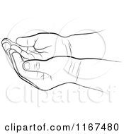 Clipart Of Black And White Cupped Baby Hands Royalty Free Vector Illustration by Lal Perera
