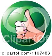 Clipart Of A Round Green Thumb Up Hand Icon Royalty Free Vector Illustration by Lal Perera