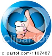 Clipart Of A Round Blue Thumb Up Hand Icon Royalty Free Vector Illustration by Lal Perera