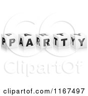 Clipart Of 3d Black And White PARTY Cubes Royalty Free Vector Illustration