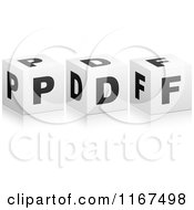 Clipart Of 3d Black And White PDF Format Cubes Royalty Free Vector Illustration