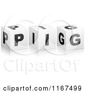 Clipart Of 3d Black And White PIG Cubes Royalty Free Vector Illustration