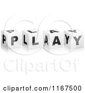 Clipart Of 3d Black And White PLAY Cubes Royalty Free Vector Illustration