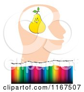 Cartoon Of A Yellow Pear In A Head Over Colorful Lines Royalty Free Vector Clipart