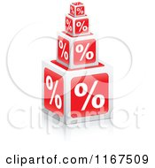 Clipart Of 3d Stacked Percent Cubes Royalty Free Vector Illustration