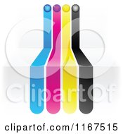 Clipart Of CMYK Lines On 3d Steps Royalty Free Vector Illustration