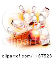 Clipart Of A Fast Bowling Ball Crashing Into Pins Royalty Free Vector Illustration by Oligo #COLLC1167526-0124