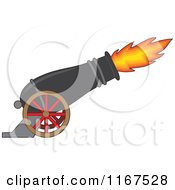 Cartoon Of A Cannon With Blazing Fire Royalty Free Vector Clipart