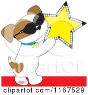 Cartoon Of A Famous Puppy Wearing Sunglasses And Holding A Cinema Star Royalty Free Vector Clipart