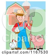 Happy Farmer With A Pitchfork Eggs Chicken Bird And Pig By A Barn