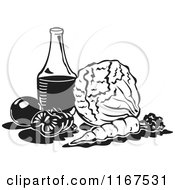 Clipart Of A Black And White Retro Dressing Bottle And Vegetables Royalty Free Vector Illustration by Andy Nortnik