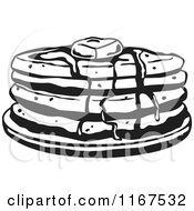 Clipart Of A Black And White Retro Stack Of Pancakes With Butter And Syrup Royalty Free Vector Illustration by Andy Nortnik #COLLC1167532-0031