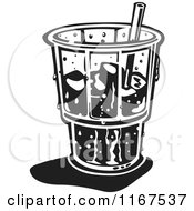 Clipart Of A Black And White Retro Ice Cold Glass With A Straw And Ice Royalty Free Vector Illustration
