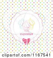 Clipart Of A Cupcake Label Over Colorful Polka Dots Royalty Free Vector Illustration