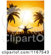 Clipart Of A Dj Above A Dance Floor Silhouetted Against A Tropical Sunset Sky Royalty Free Vector Illustration