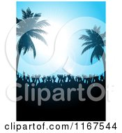 Clipart Of A Silhouetted Crowd Dancing Under Palm Trees And A Blue Sky With Flares Royalty Free Vector Illustration