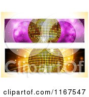 Clipart Of Golden Disco Ball Website Banners Royalty Free Vector Illustration