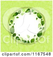 Clipart Of A Spring Leaf Frame Over Green Royalty Free Vector Illustration