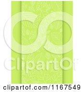 Clipart Of A Green Spring Leaf Patterned Panel Royalty Free Vector Illustration