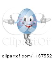 Cartoon Of A Happy Blue Easter Egg Mascot With Pink Polka Dots Royalty Free Vector Clipart