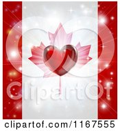 Clipart Of A Shiny Red Heart And Fireworks Over A Canadian Flag Royalty Free Vector Illustration