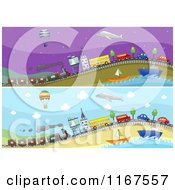 Cartoon Of Modes Of Transportation Website Banners Royalty Free Vector Clipart by BNP Design Studio